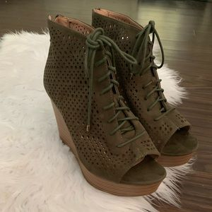 """Report """"Rio"""" Army Green Lace Up Peep Toe Wedge"""